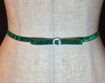 Green Holiday Party Bow Belt, Skinny Rhinestone Bridal Stretch Belt, Thin Dress Belt Wedding, Skinny Elastic belt, Bridesmaid Belt.