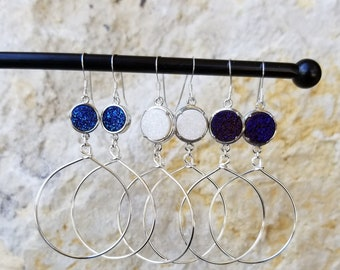 Silver Hoop Earrings With Glittering Blue, White or Purple Round Druzy Stone Accents