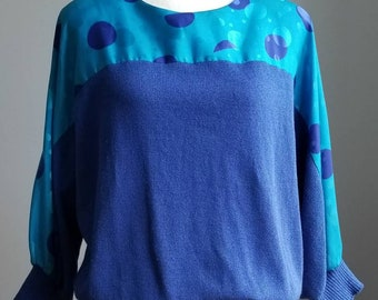 80s Clothing, Knit Shirt Sweater, Vintage Blue Knitted Sweater, Pullover, 80's Sweater, Oversized Sweater, Color Block Slouchy Sweater