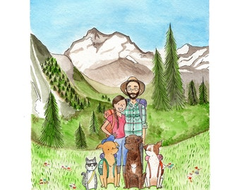 8 x 10 Custom Watercolor Portrait Illustration, Family