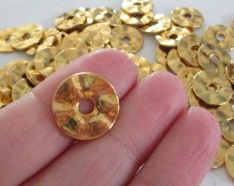 Gold Wavy Hammered Spacers - Gold Disc Rondelle - Large Spacer Beads - diy Trending Bracelet Findings - Center Drilled - 16mm  - 24 Pcs