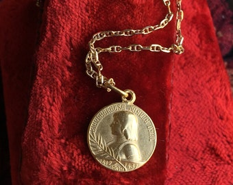 Saint Joan of Arc Medal Necklace 18K Gold Plated Silver French  Art Nouveau Religious Catholic Jewelry First Communion Gift Christian