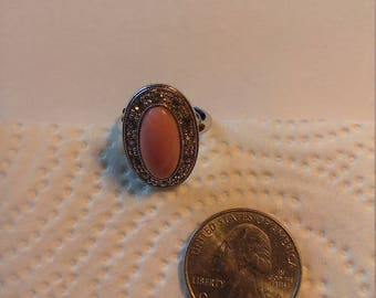 Vintage Silver Tone Pink Coral Looking Ring