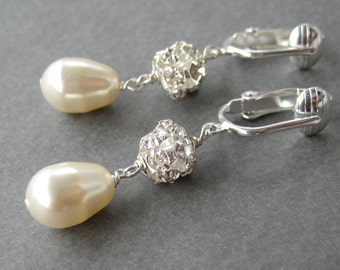 Ivory Pearl Bridal Clip-on Earrings, Rhinestone Pearl Drop Silver Clipons Dangle, Mrs Sparkle
