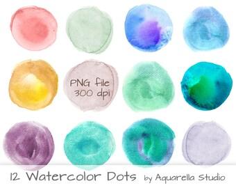 Watercolor dots - Watercolor clipart - Watercolor Bubble- Digital clipart - Scrapbook Clipart -Instant Download - PNG file- Blue- Turquoise