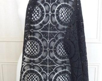 Black Cotton Cluny Lace - 2.39m x 1.48m