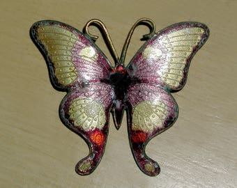Beautiful Art Nouveau Large Vintage Guilloche Enamel Antique Brass Butterfly Brooch Pin
