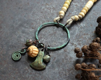 Bronze Age axe necklace, primitive amulet necklace, ax god necklace, beige and turquoise necklace, rustic long necklace, pagan necklace