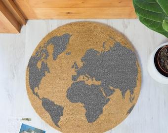 World Map Grey Globe Circle Round Doormat