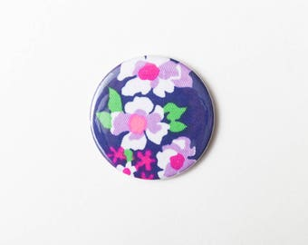 Pink, Purple and White Flowers - A Pocket Mirror made from Vintage Fabric, 58mm 2.3 Inches, Vintage Floral Fabric