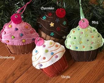 Wool Felt Large Cupcake Ornament Color Choice