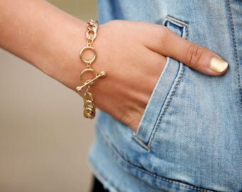 OUT of stock !!! BIG GOLD Bracelet, Adjustable gold Chain Bracelet, gold Bracelet, Adjustable Bracelet, Chain Bracelet