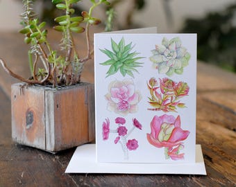 Succulent Art. Succulent Greeting Card. Anytime Card. Blank Inside. 4.25x5.5