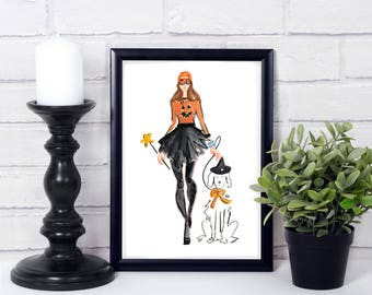 Fashion Illustration - Fashion Print - Halloween Print  - Fashion Decor - Dog Art - Watercolor Illustration - Fashion Halloween Card - Card