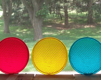 3 Glass Traffic Light Lenses 12""