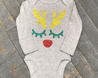 Reindeer Rudolph Glitter Personalized Onesie Bodysuit One Piece Newborn Infant Toddler Outfit