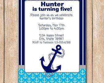 Boy Nautical Birthday Invitation | Anchor, Sailor, Navy - 1.00 each printed