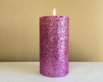 Pink Glitter Pillar Candle - Wedding Decor Candle - 4, 6, 9 inch