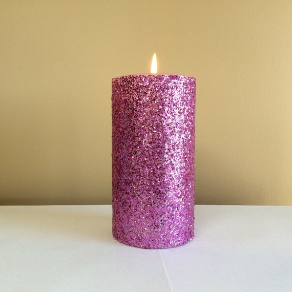 Pink glitter pillar candle wedding decor candle 4 6 9 for Shimmer pillar candle