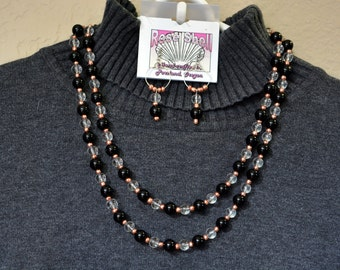 black and crystal neclace and earring set