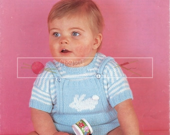 "Baby Top and Pants 20-21"" DK Sirdar 3330 Vintage Knitting Pattern PDF instant download"