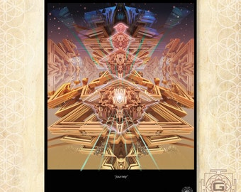 Journey - art prints ,a3 a4 a5 sizes.Space,mind,sacred,festival,aya,psy,dream,divinity
