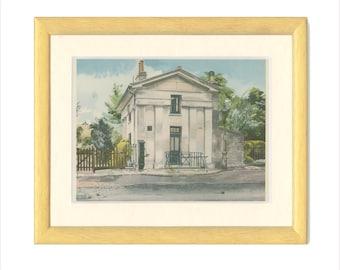 Edwardes Square, Gardener's Lodge, Kensington, London, Vintage Print 51, 1946, Wartime Britain, Wartime Art, WW2, Frameable Print