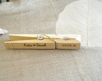 200 Custom Wedding Clips card holders Personalized clothespins