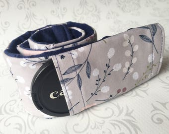 Camera Strap Cover with Lens Cap Pocket - Padded Minky, DSLR Camera Strap Cover, Photographer Gift - Wildflowers with Navy