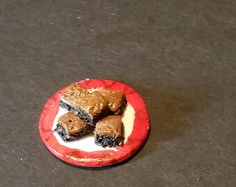Dollhouse miniature plate of brownies