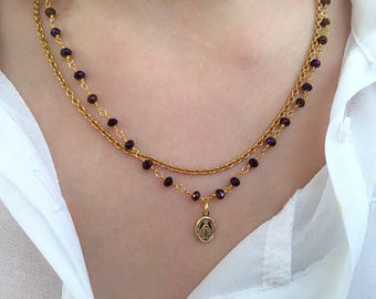 Two-strand brass necklace with rosary chain and madonna pendant in gold brass