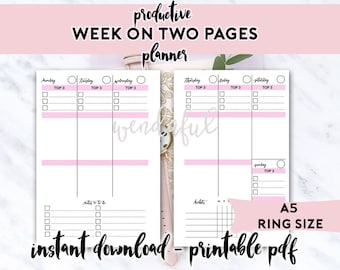 A5 Size Ring Bound - Productive Week on Two Pages Planner