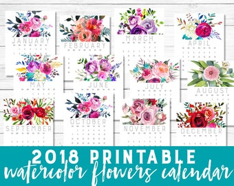 2018 calendar, Printable 2018, Calendar, watercolor, painted flowers, roses pink red, floral, Botanical calendar, Printable wall calendar,