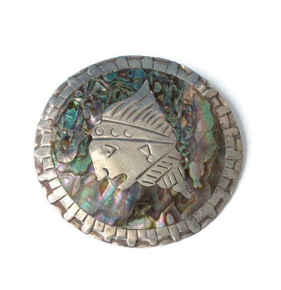 Pre-Columbian Abalone Brooch Sterling  Eagle 2 Mark Tribal Signed CF Vintage Pin