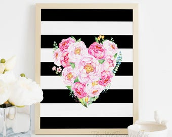Floral Heart Black and White Stripe Printable, Watercolor Printable, Valentine's Day Decor, Floral Printable, Heart Wall Art Printable