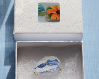 Sea Glass Humpback Whale Brooch