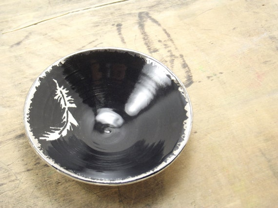SALE White Feather, Black & Silver Porcelain Small Bowl, Jewelry Dish, Ring Dish, Dipping Bowl
