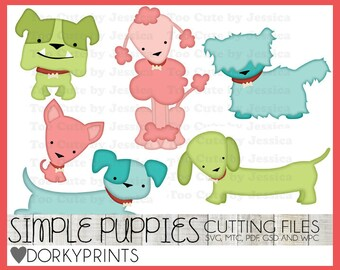 Puppies Cuttable Files -For Use with Cutting Machines - svg, mtc, pdf, gsd, and wpc files, Dog SVG