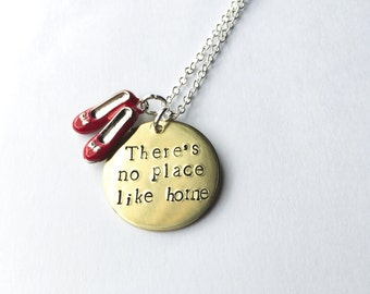 Wizard of Oz inspired There's no place like home hand stamped necklace