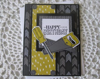 Handmade Greeting Card: Happy Birthday (Masculine/Tool Theme)