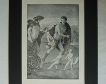 1890s Antique Giovanni Bellini Print, Available Framed, Lust Art, Four Allegories Decor, Perseverance Gift Bacchus Picture Dionysus Wall Art