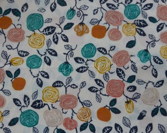 1/2 Yard Organic Cotton Fabric - Birch Fabrics, the Hidden Garden, Roses Cream