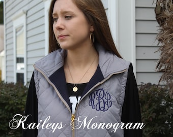 Monogram Puffy Vest - Womens Vest - On Sale - Quilted - Fleece Line Winter Clothing - Personalized Nylon Vest