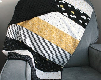 DIY Kit When Skies are Grey Black White and Gold Minky Blanket