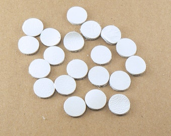 """1/2"""" White Leather Circles - 20 Die Cut Leather Circles - Leather Circle Appliques -  Leather Disks - Craft Leather Circles"""