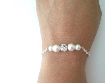 Pearl and Rhinestone Bracelets, Bridesmaid Pearl Bracelets, Bridesmaid Gifts