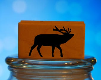 Big Deer Rubber Stamp Mounted Wood Block Art Stamp