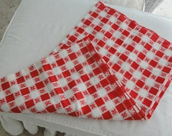 Vintage Red and White Maple Leaf Tablecloth