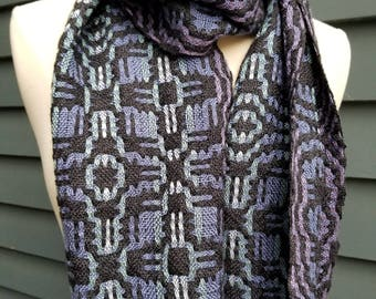 Alpaca Silk Tencel Handwoven Scarf Black Blue, Purple, Teal