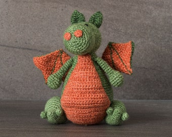 Crochet. Amigurumi. Douglas the Dragon; crocheted critter, handmade, crocheted, child, teenager, toy, softie, gift, Dungeons and Dragons